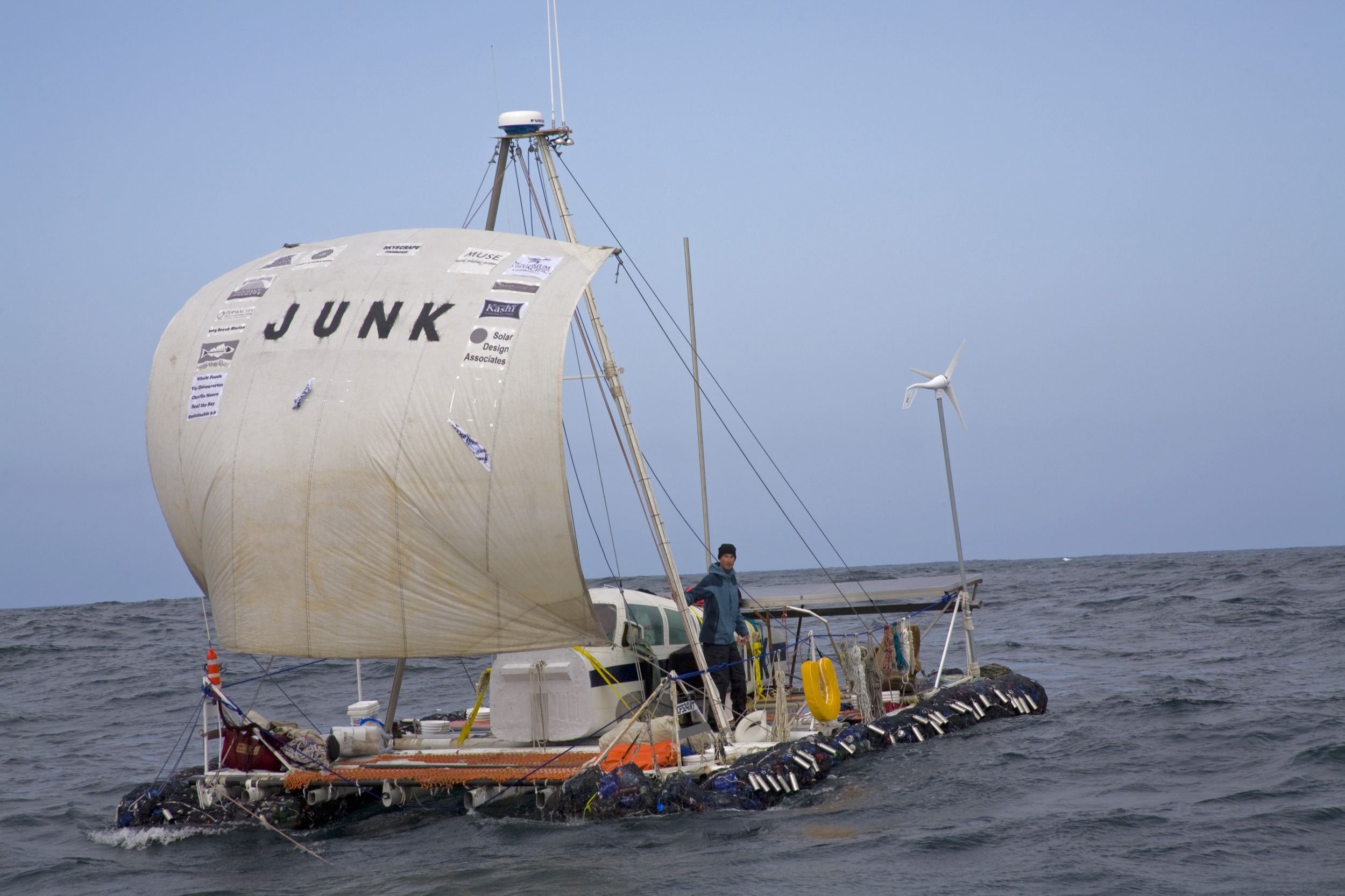 The Algalita ?Junk? raft leaves Long Beach on it?s trip to Hawaii