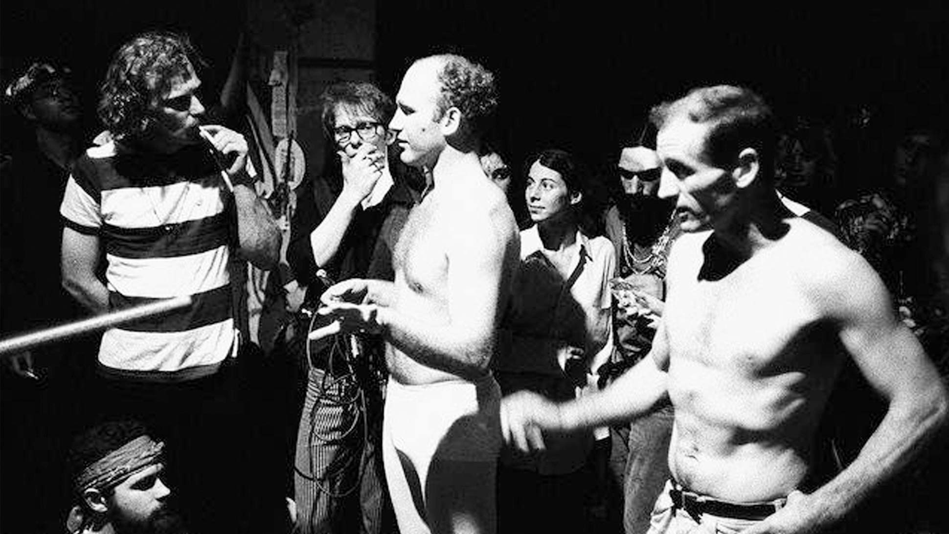 Ken Kesey and Neal Cassady bare their chests during the Merry Pranksters' Acid Test Graduation. Photo by Ted Streshinsky, Corbis