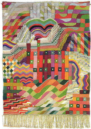 "Wall hanging - ""Slit Tapestry Red/Green""  1927/28"