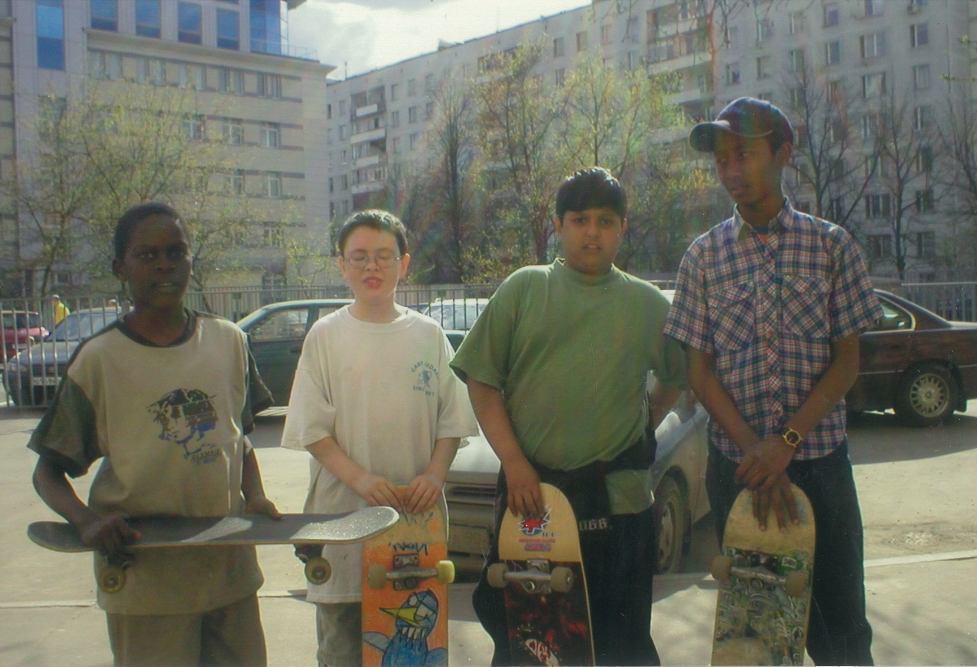 Elijah with his first skate crew in Moscow.
