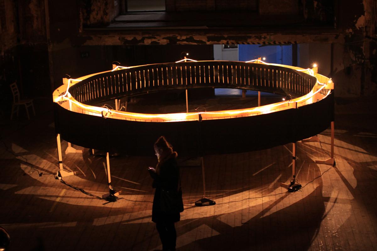 Finnish artist Kaisa Penttila's immersive life-size zoetrope installation, Garbage Whirl.
