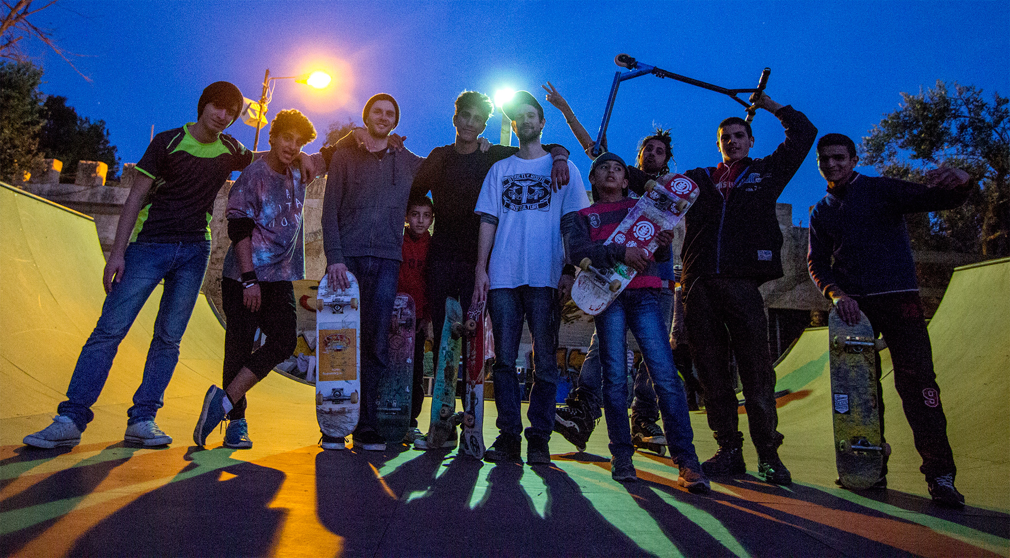 Phil & Theo with skaters in Qalqilya