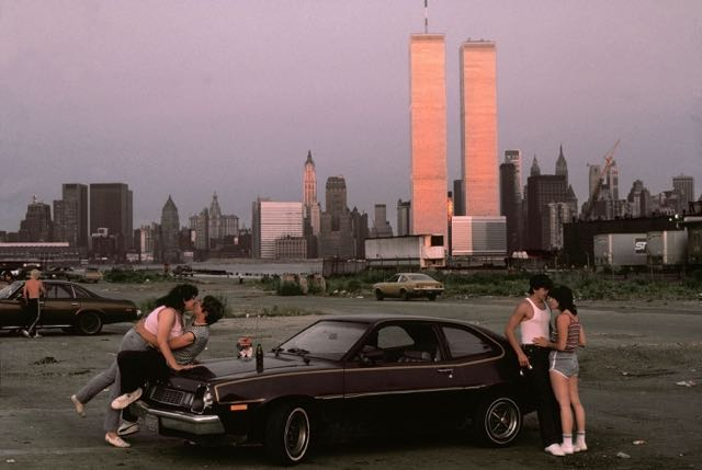 """USA. New Jersey. 1983. Downtown Manhattan seen from """"lover's lane' in New Jersey."""