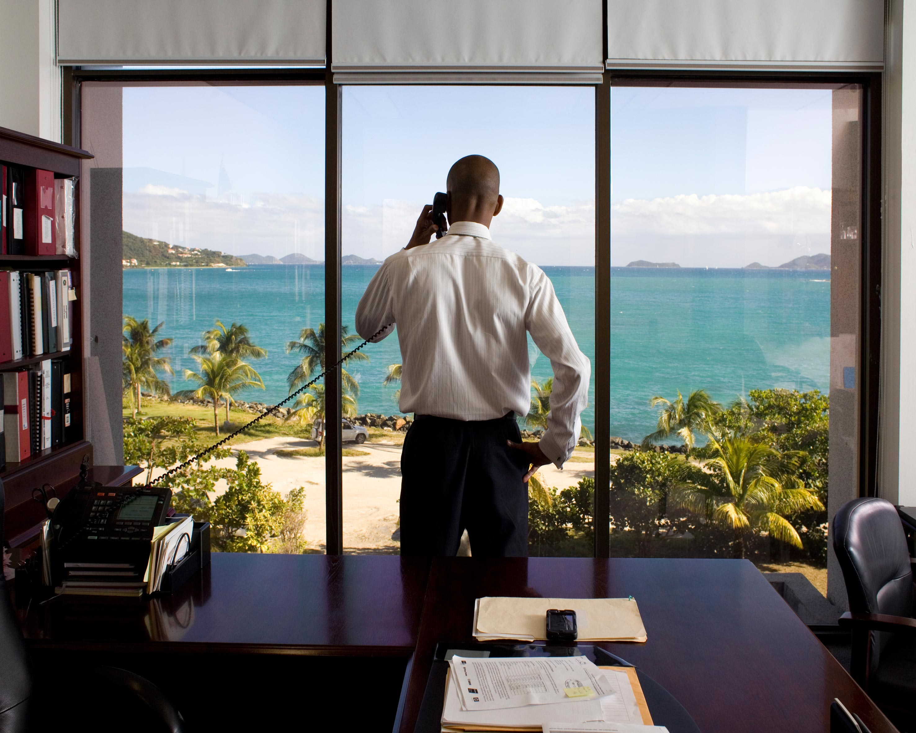 British Virgin Islands Finance Secretary Mr. Neil M. Smith in his office. There are more then 800,000 companies based in the BVIs but only 28,000 inhabitants.