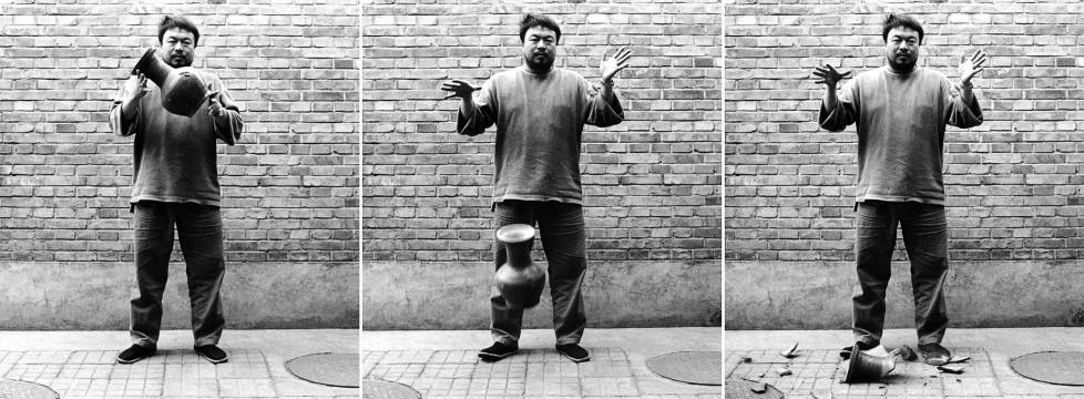 Dropping a Han Dynasty Urn 1995; 3 silver gelatin photographs; 148.0 x 120.0 cm each (triptych); Ai Weiwei Studio; © Ai Weiwei