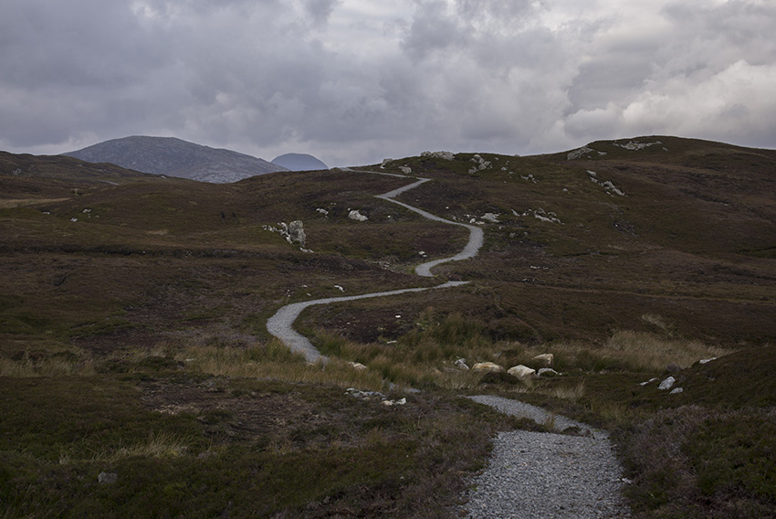Scotland. Isle of Harris, Outer Hebrides. The path leading to the Scalpay lighthouse. 2015