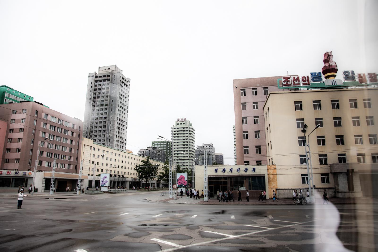 Empty Pyongyang roads.