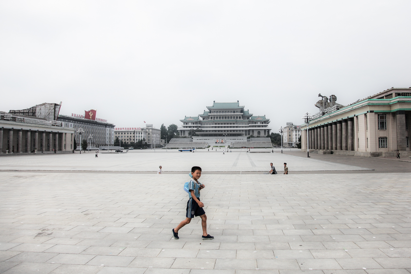 A North Korean boy in Pyongyang's central square.