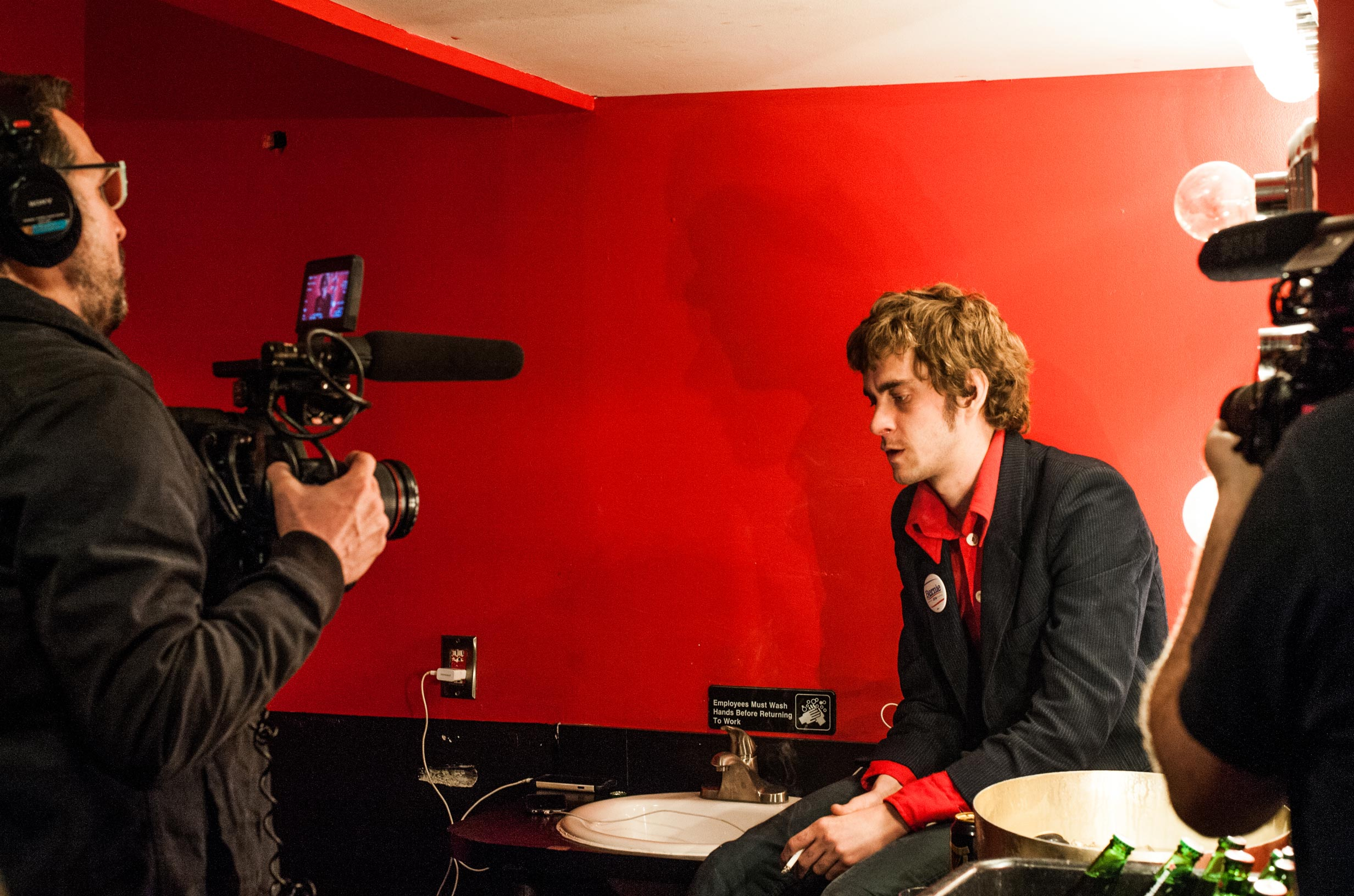 Saul being interviewed at Le Poisson Rouge, New York.