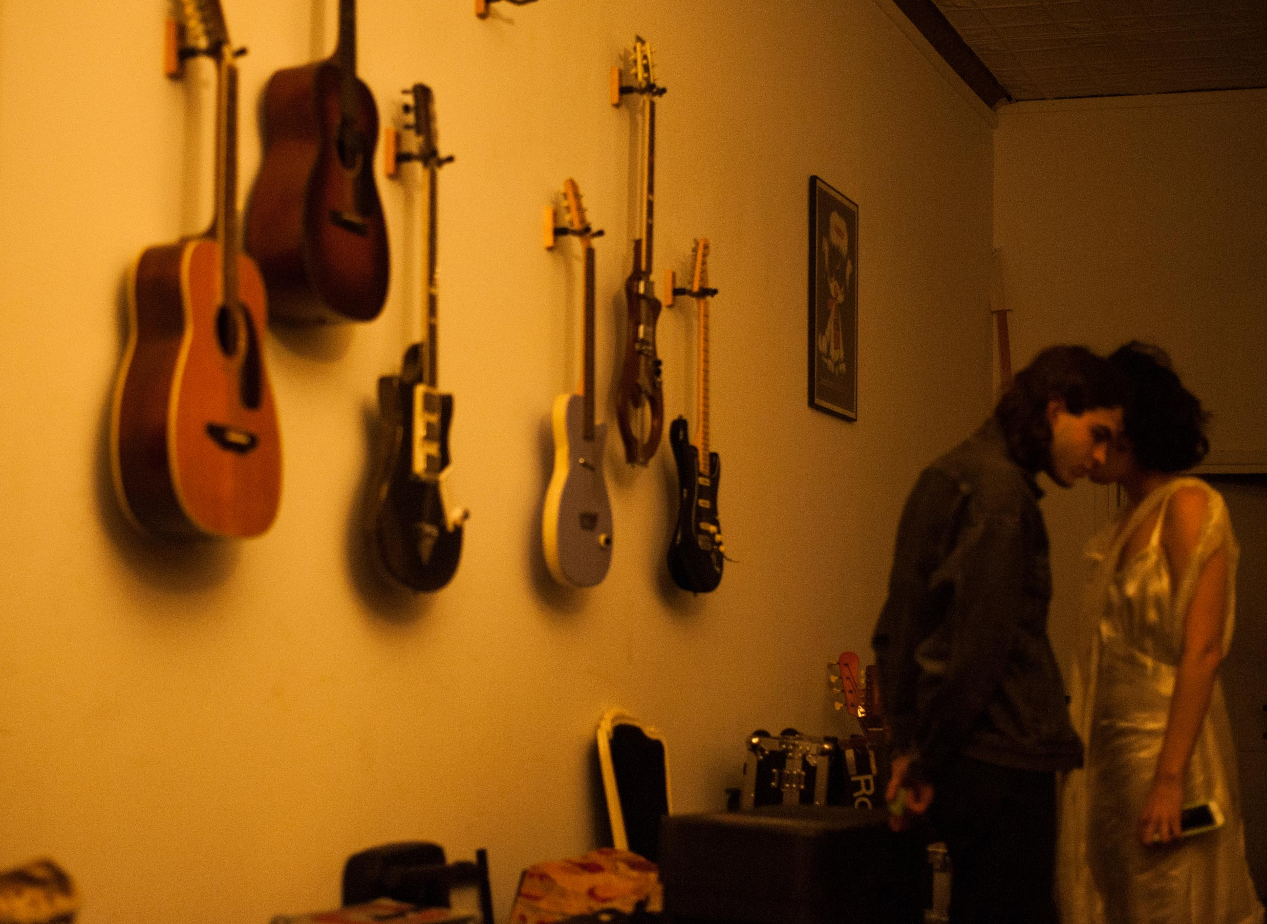 Guitars adorn the wall of Sean Lennon's New York apartment.