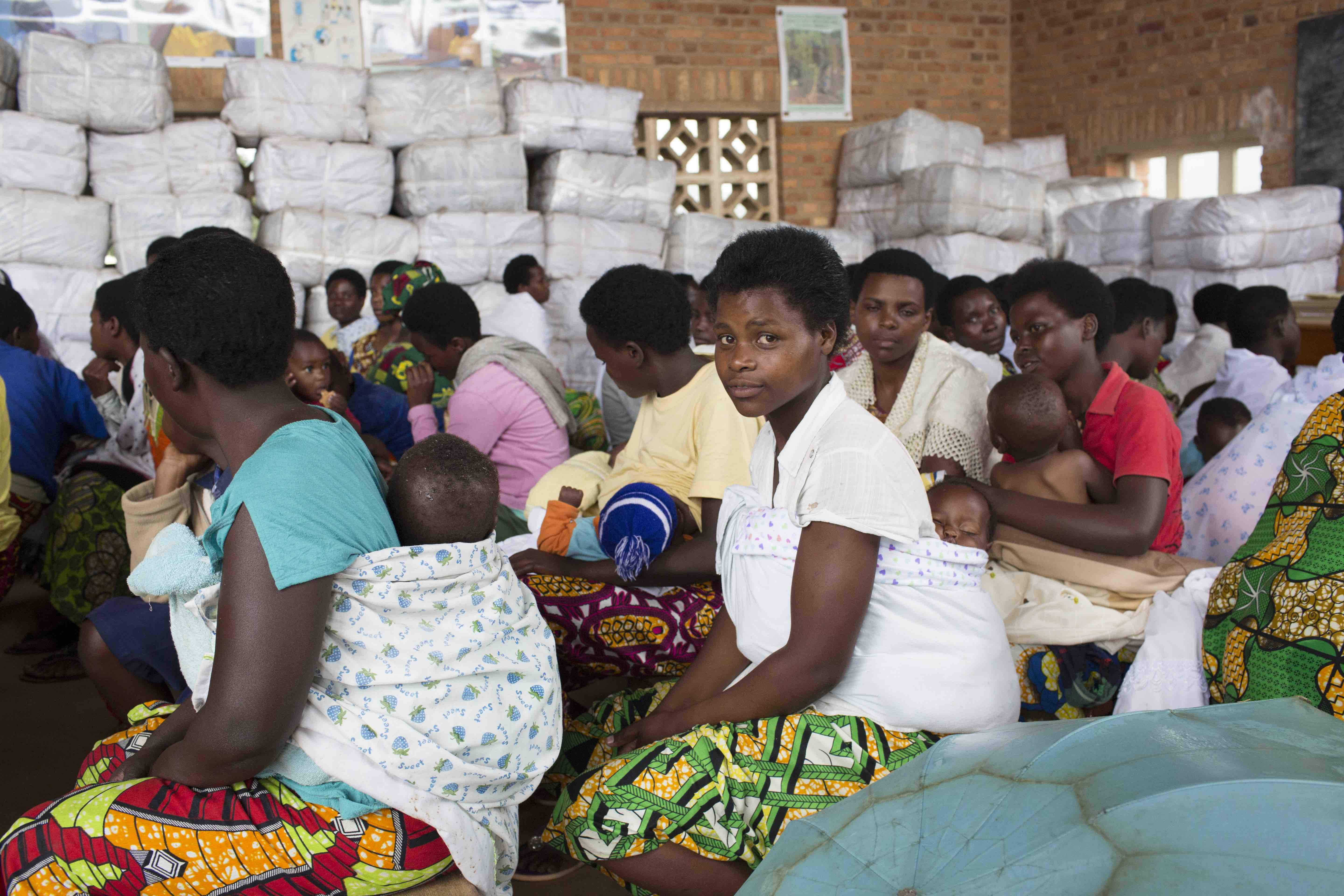Young mothers at a health centre in rural Rwanda