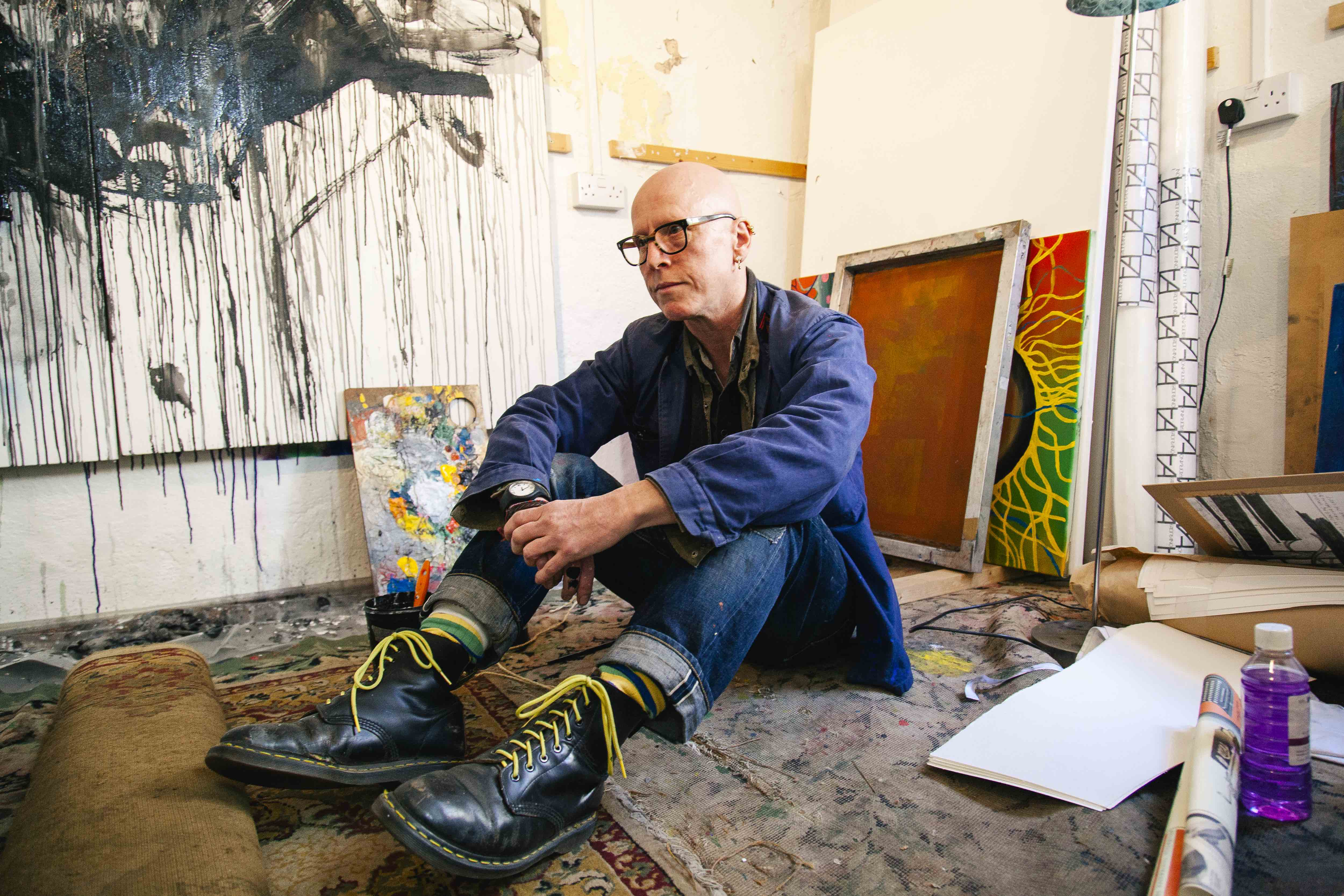 Stanley Donwood at his studio in Bath for Huck Magazine.