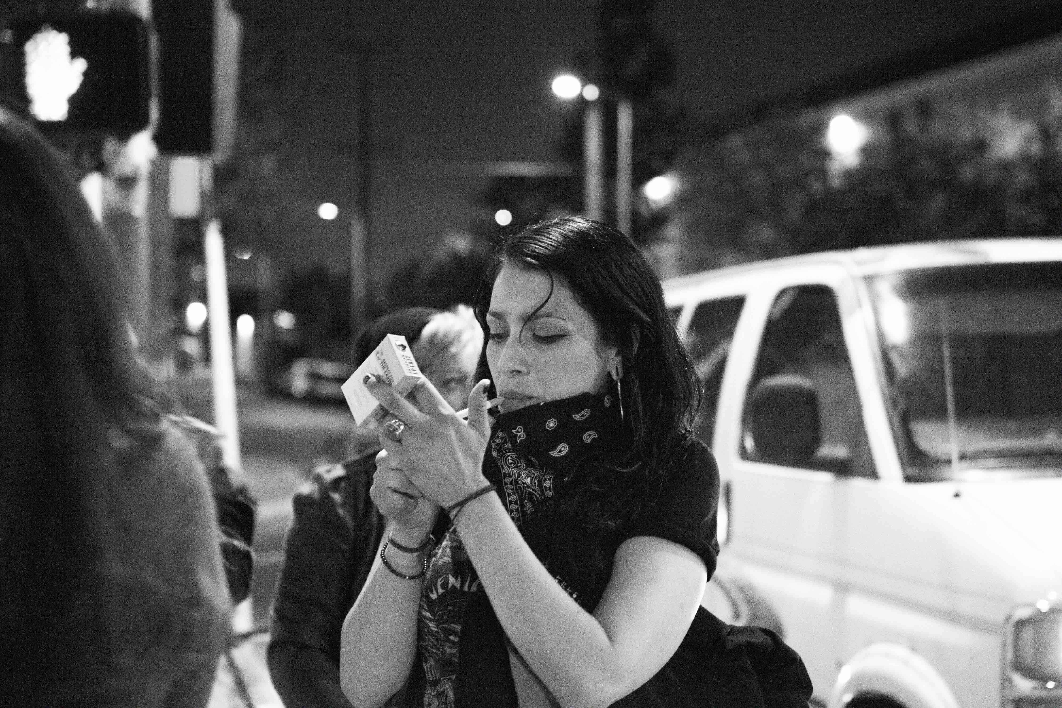 Xela De La X, founder of the collective, sparks up at a recent meet in Downtown LA