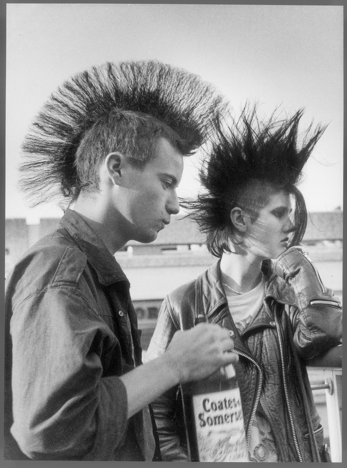 Shirley Baker: 'Two punks drinking cider, Stockport.' 1983.