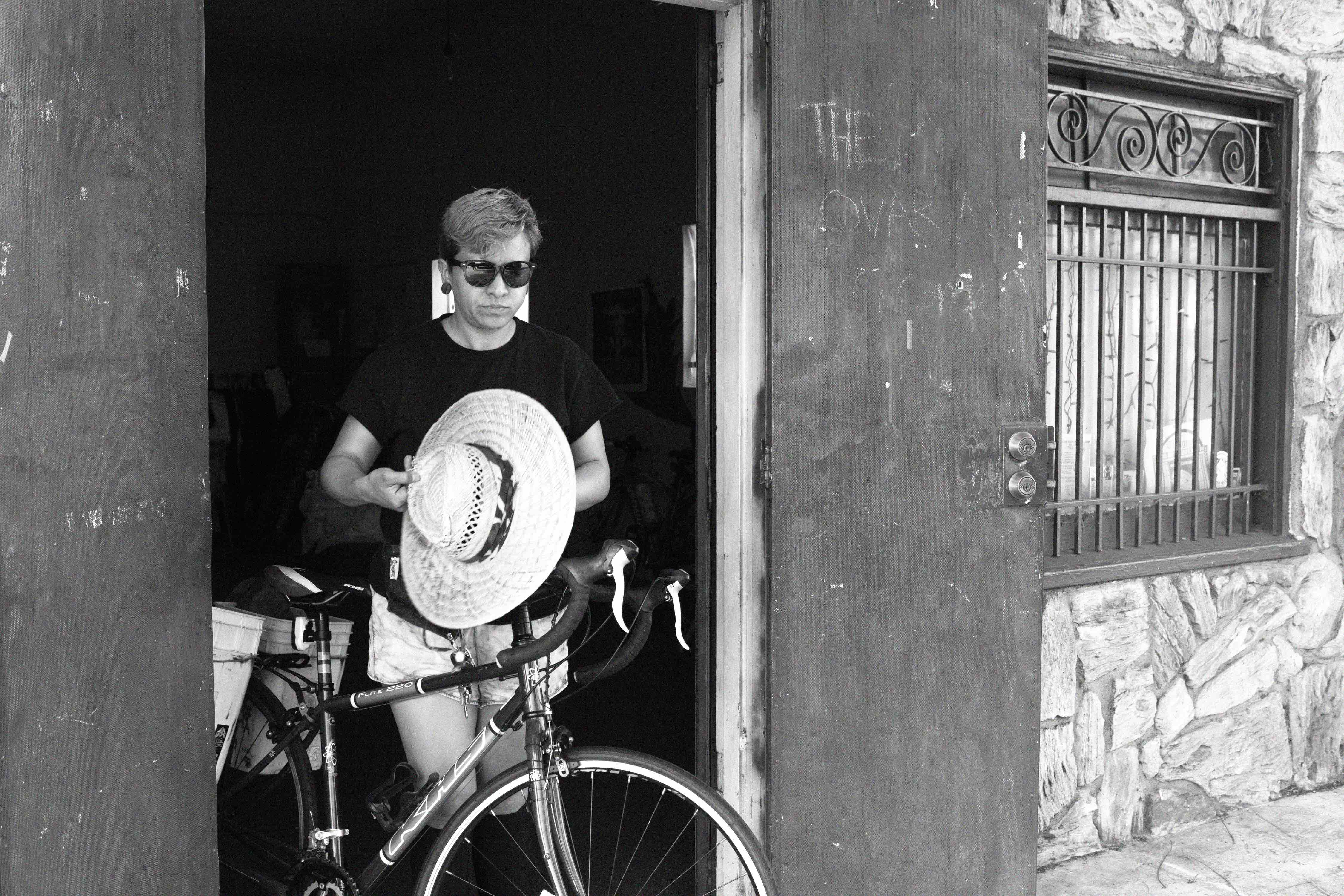 Ovarian Psyco Joan Zeta heads out to play kickball against other bike clubs.