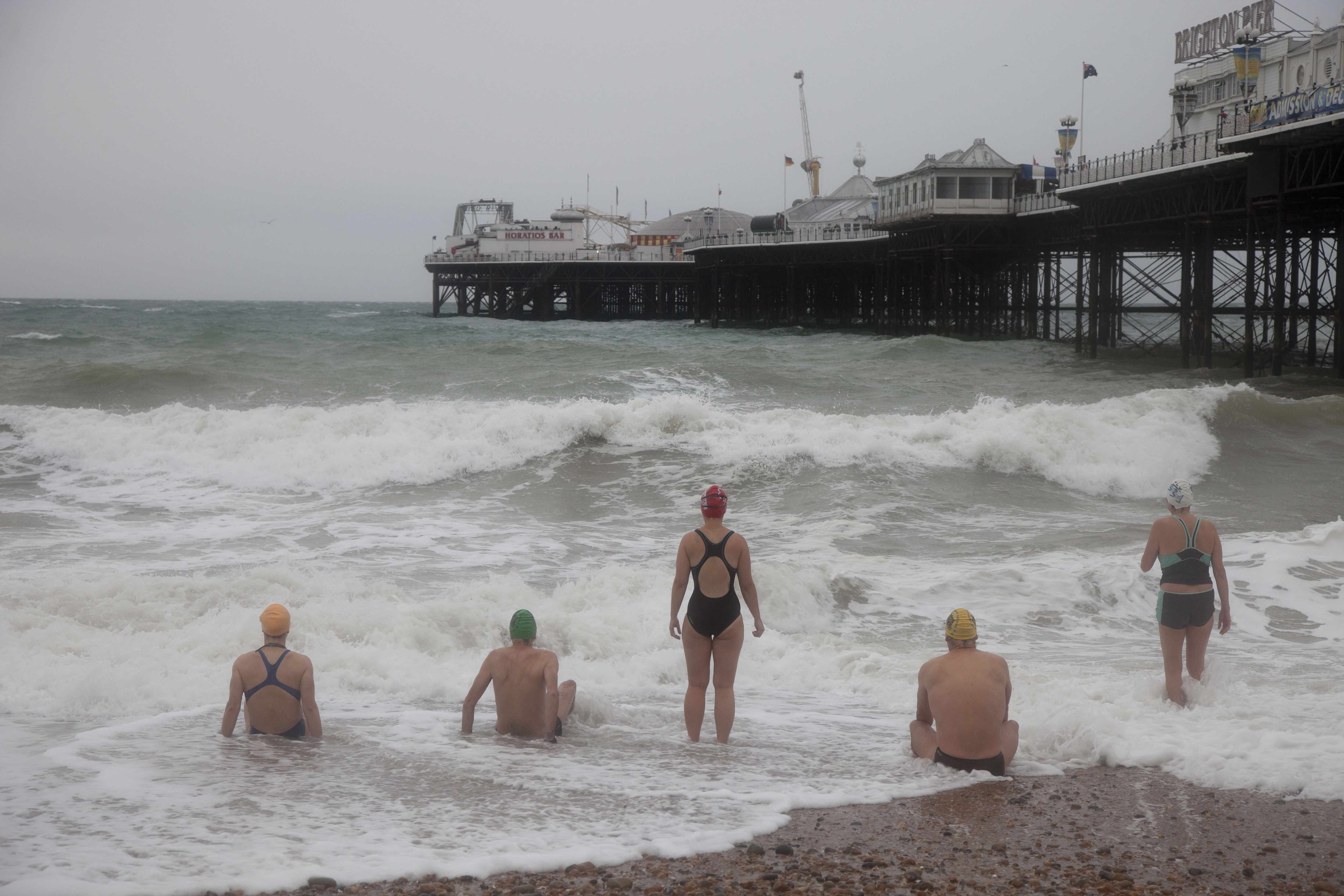 GB. England. Brighton. Members of the Sea Swimming Club who meet daily to swim in the sea. 2010 © Martin Parr / Magnum Photos
