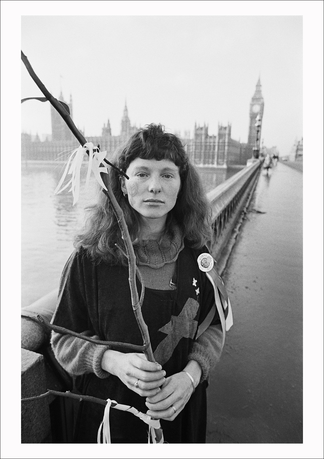 A protester from the Women's Peace Camp at RAF/USAF Greenham Common after keening in Parliament Square, Westminster, London, 1982