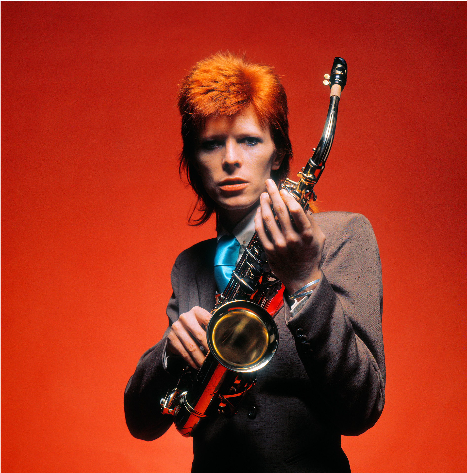 David Bowie, Saxophone,  1973, © Mick Rock / courtesy The Print Room