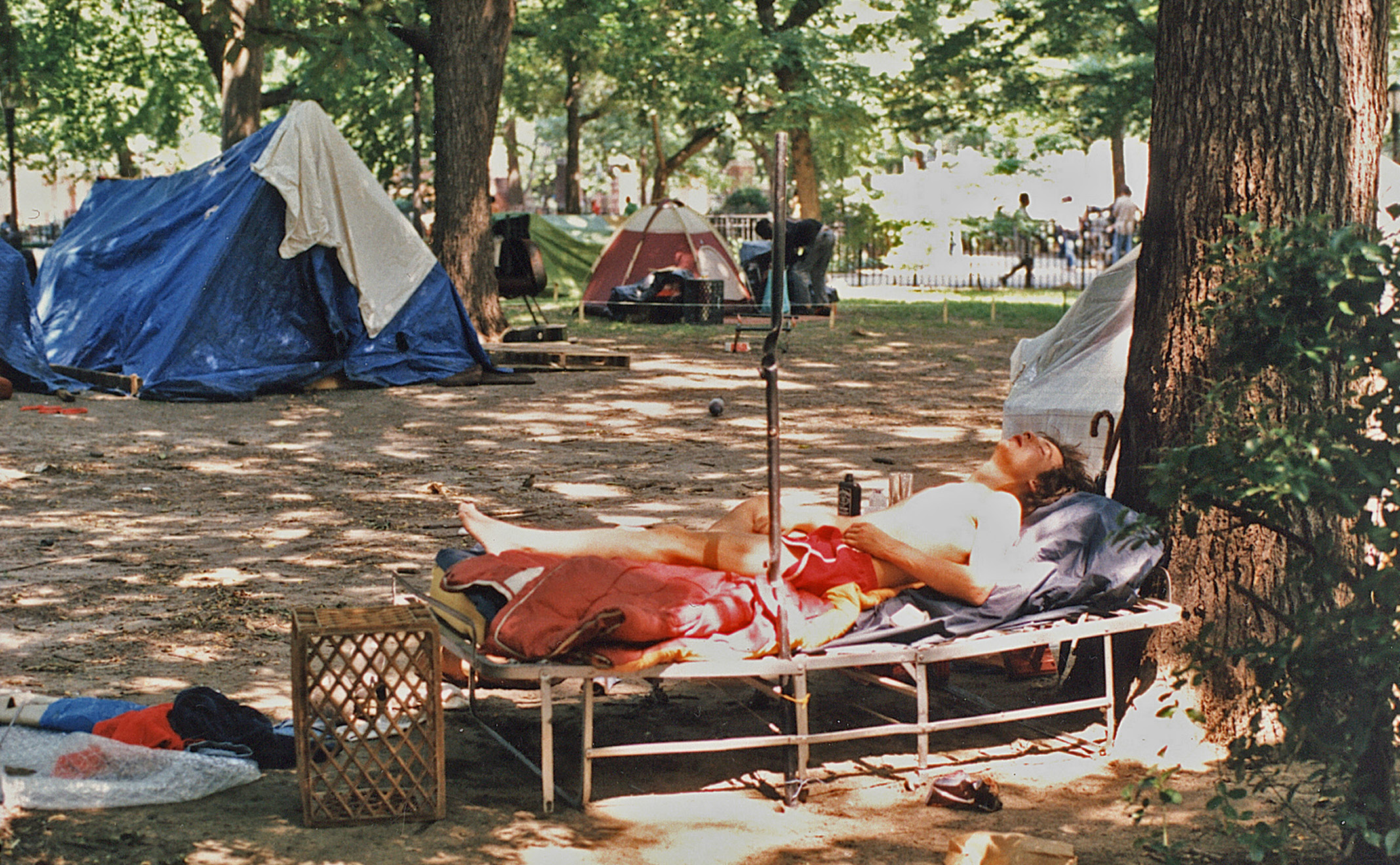 Tompkins Square Park Ten City resident sleeping, 1989.