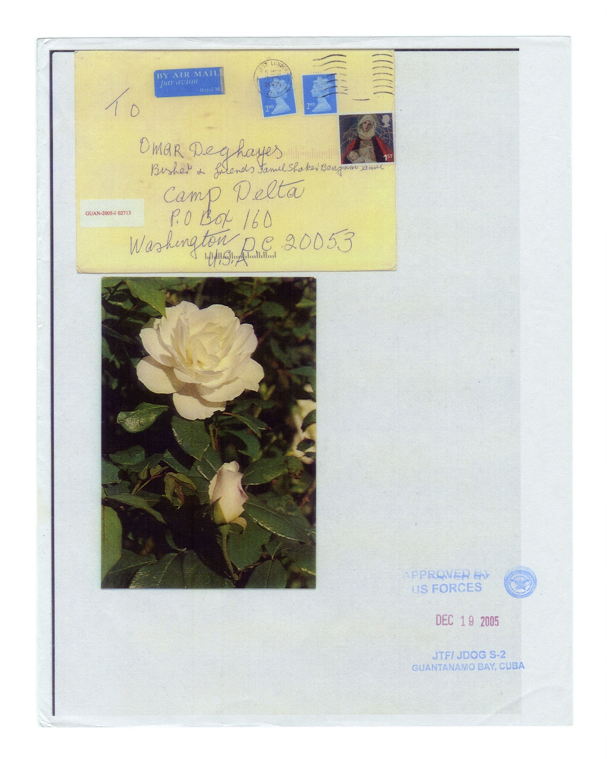 To Omar Deghayes; from the series Letters to Omar © Edmund Clark, Courtesy of Flowers Gallery London and New York