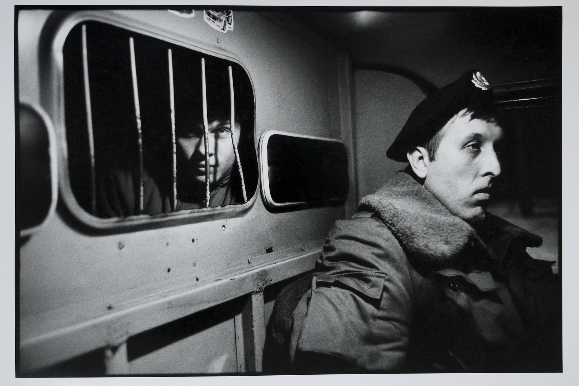A drunk in the back of a police van, December 1992.