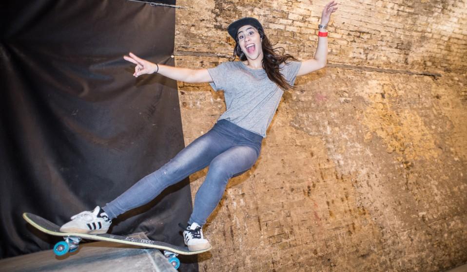 A girl's skate session at House of Vans