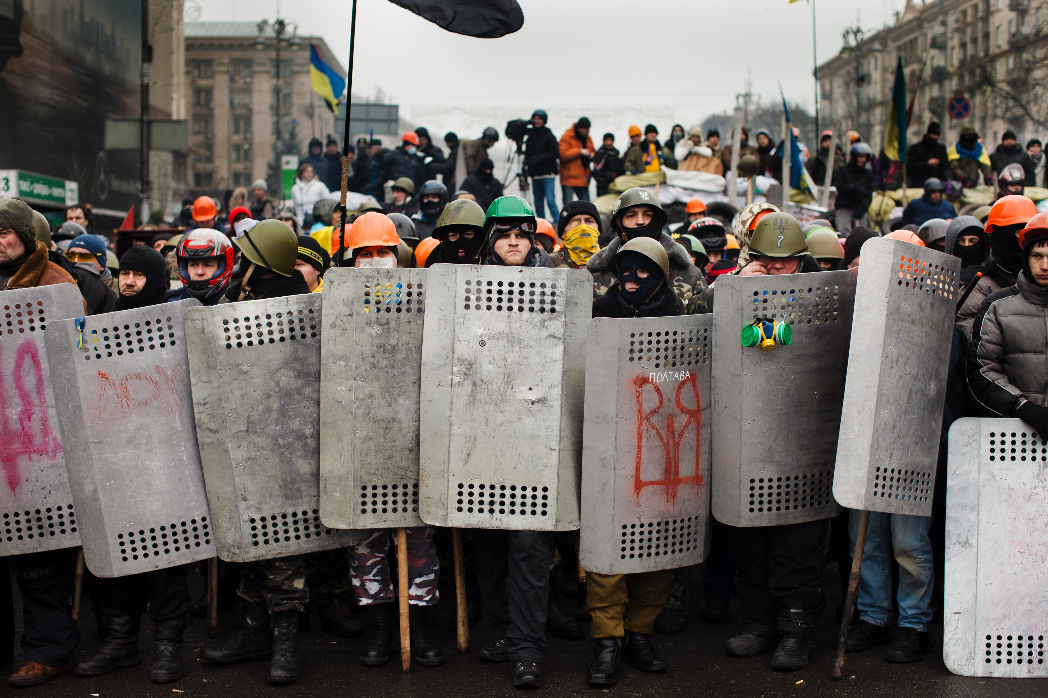 Civil unrest erupts during Ukraine's Maidan protests, February 2014.
