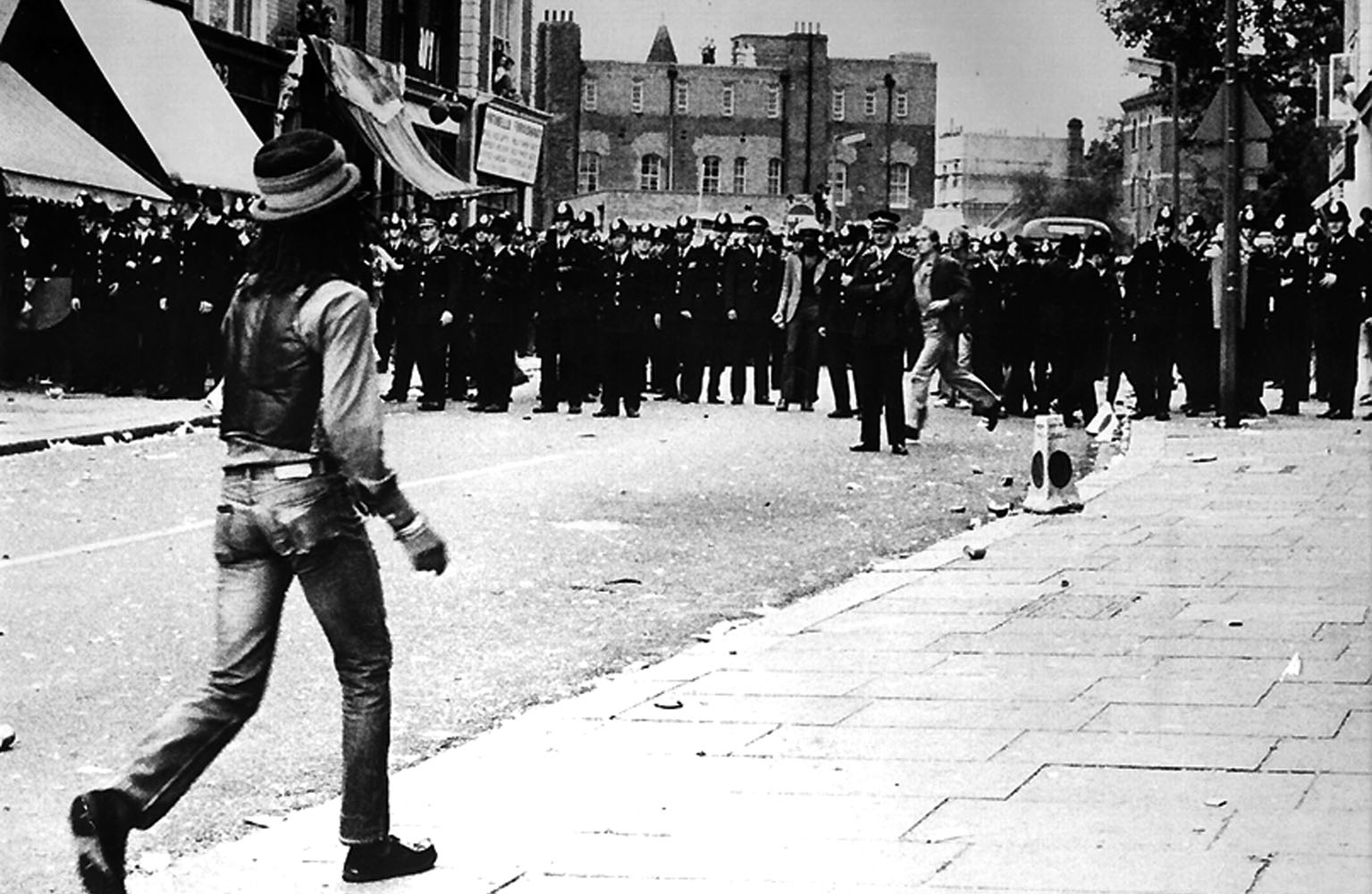 Don Letts at the Notting Hill Carnival riots, 1976. Photo by Rocco Macaulay.