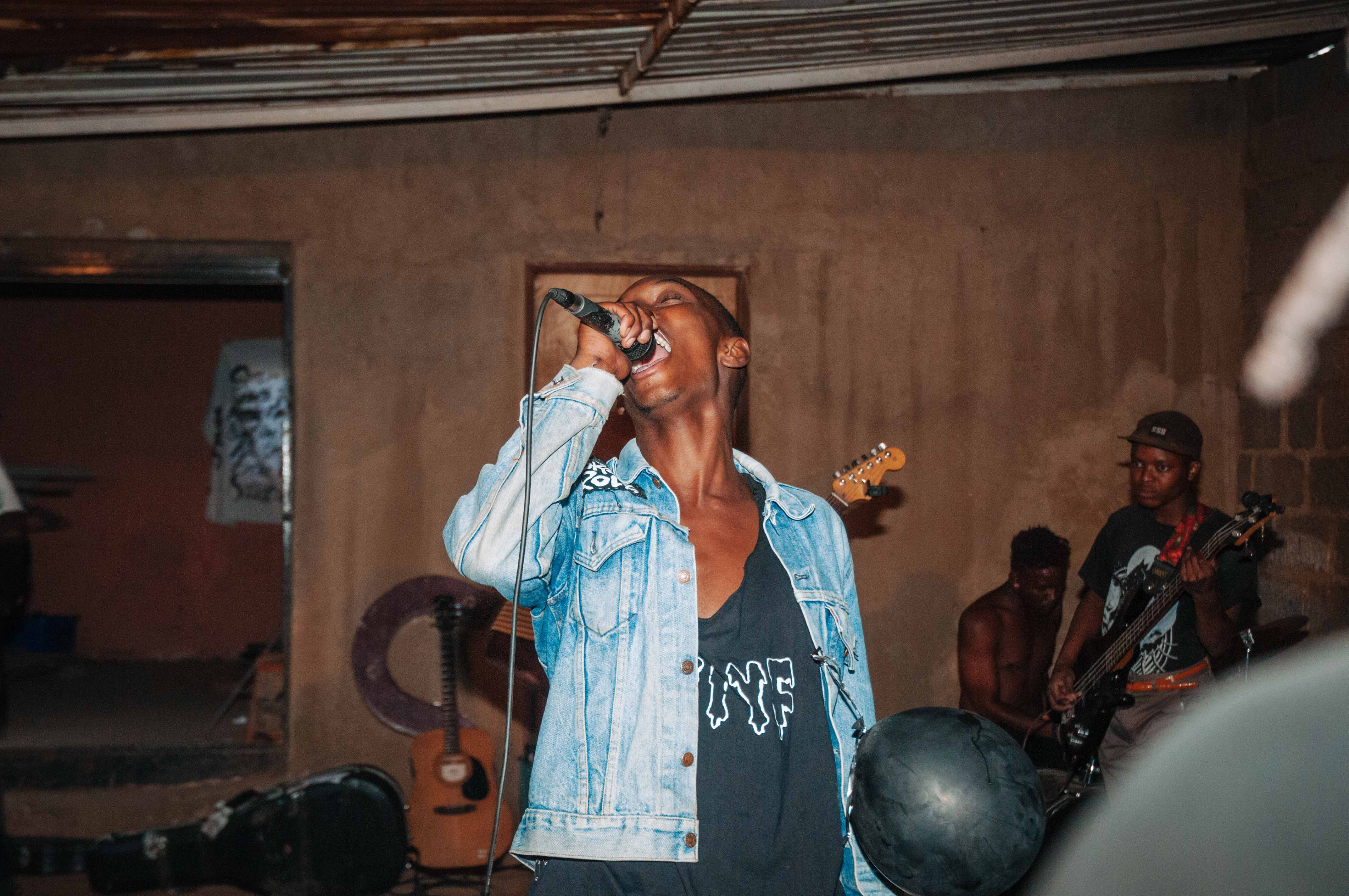 Lead singer Pule lets out his rage at the band's Rev It Up show, Soweto.