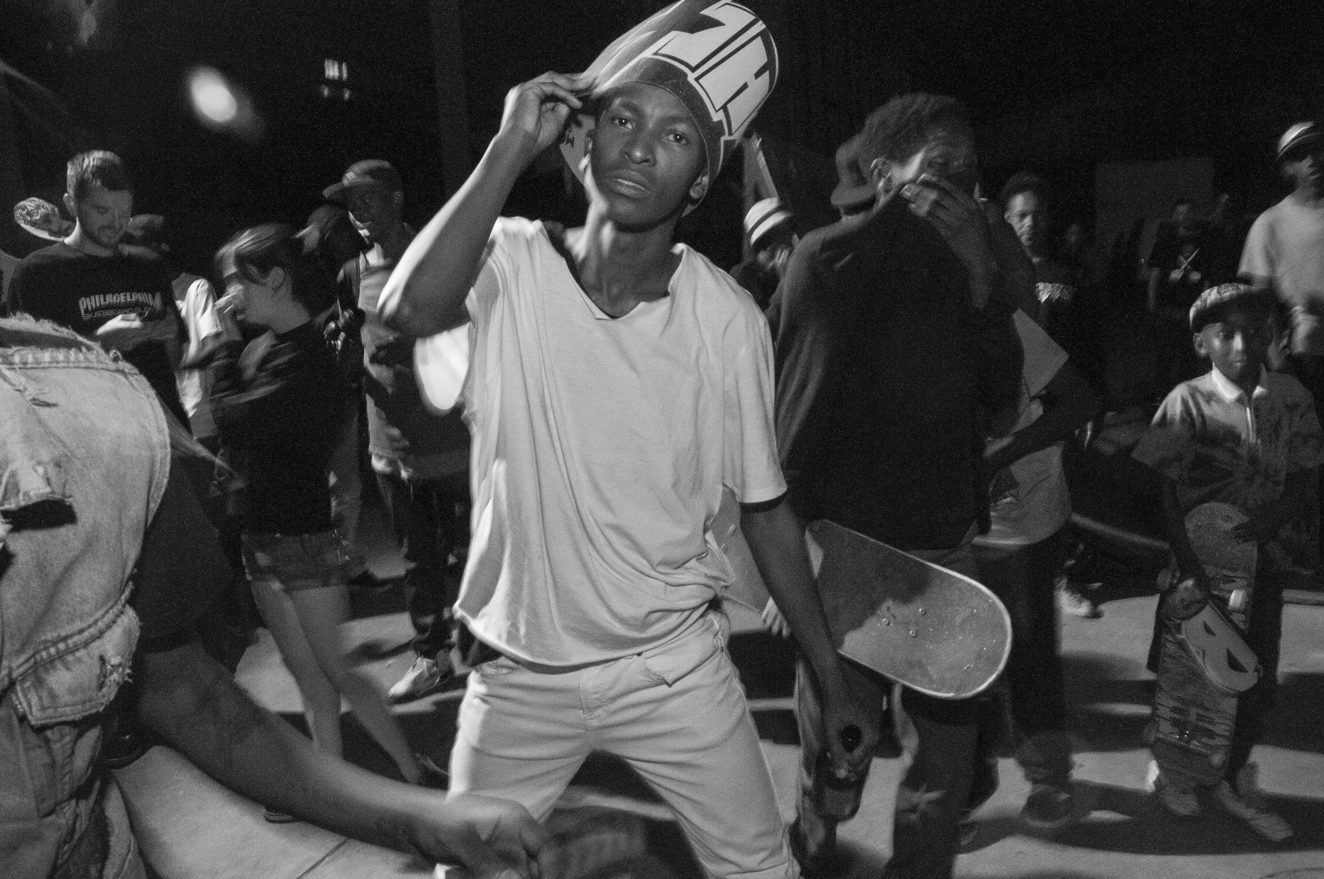 Supporters slam-dancing at the Thrasher Skate Rock show in Maboneng, Johannesburg. November 2015.