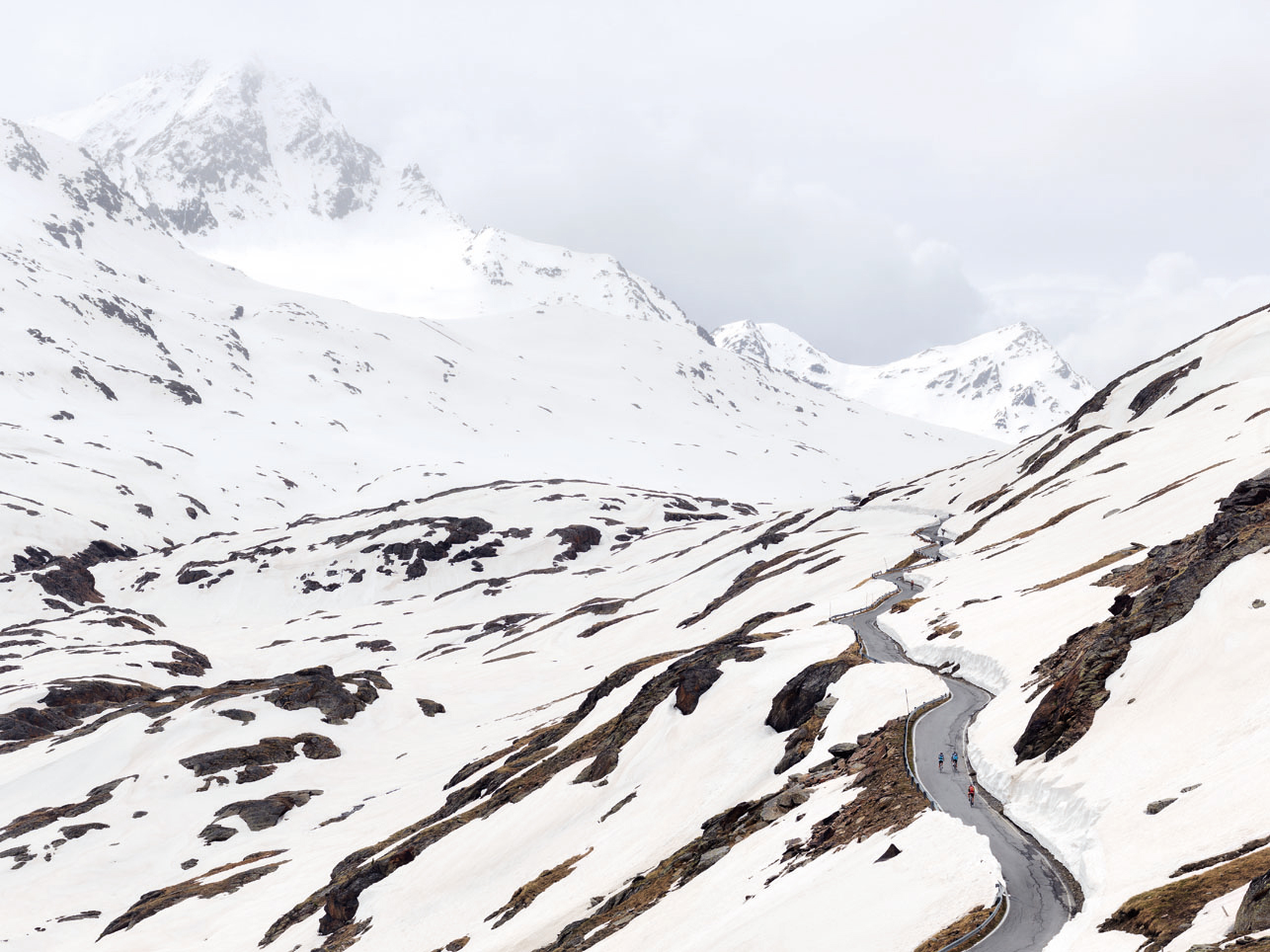 Gavia Pass, its slopes covered in snow