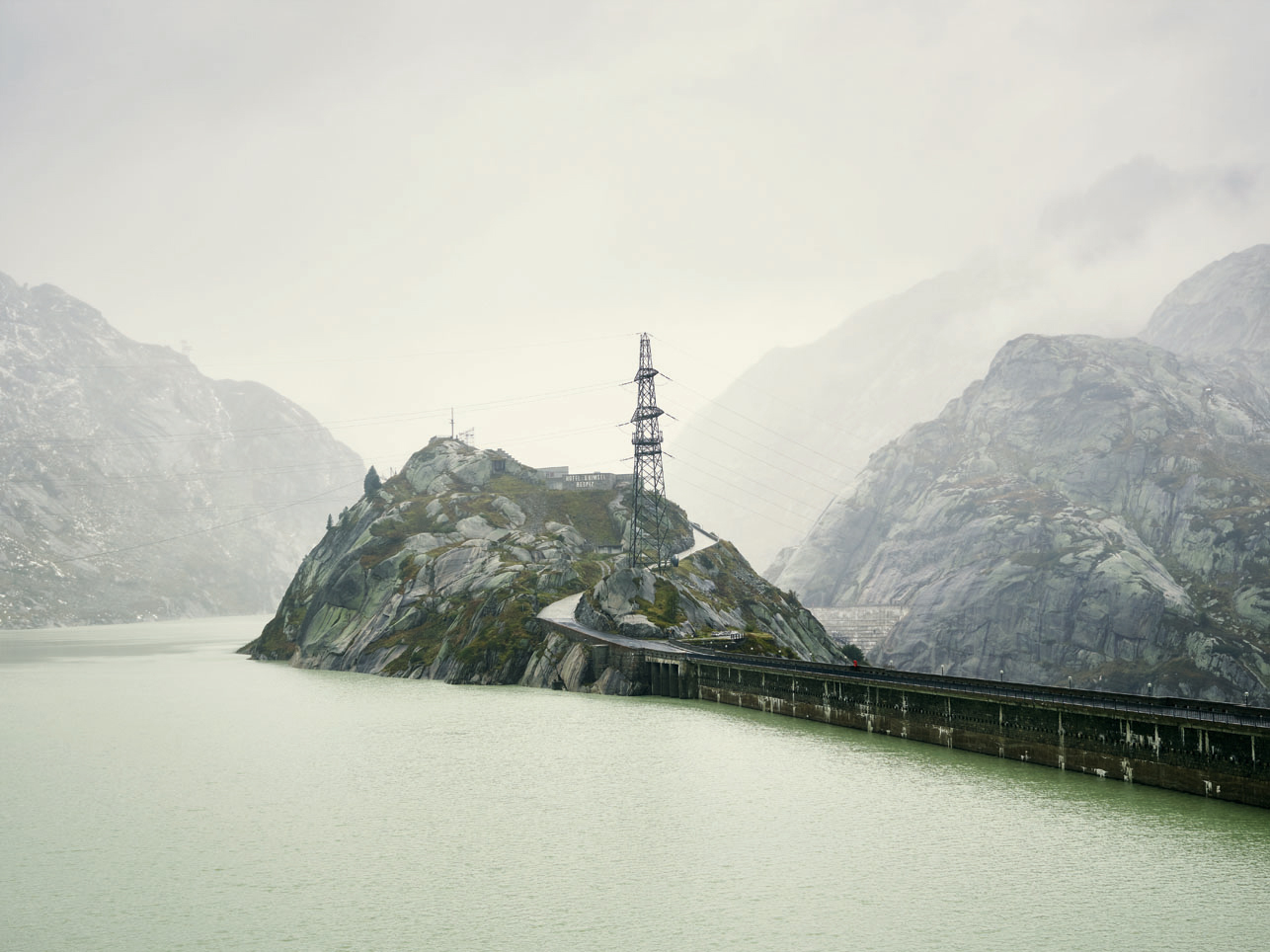 Grimsel Pass: the rocky outcrop of the Grimsel Hospice