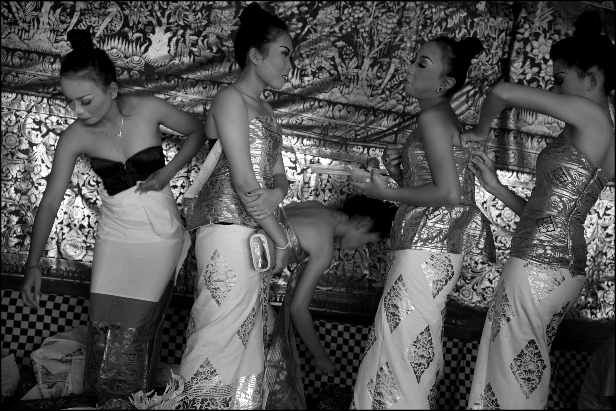 Students from the Indonesia Institute of Arts dress up for a rejong traditional dance in the Batur temple; Kinmantan, Bali.