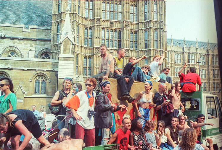 Protest of the Criminal Justice Bill in London, July 1994.