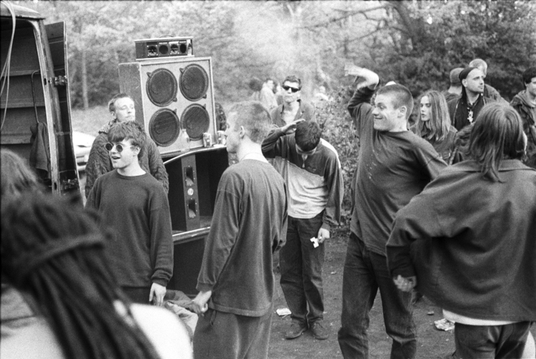 An afterparty in Wanstead Common, London, following the Anti-CJA march, 1994.