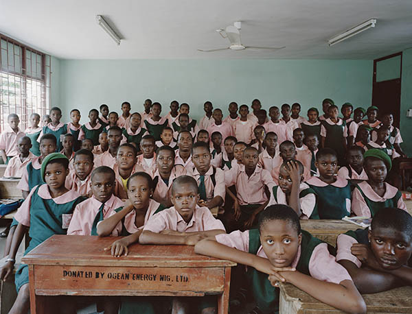 A maths class at Kuramo Junior College in Victoria Island, Lagos, Nigeria. Photo by Julian Germain.