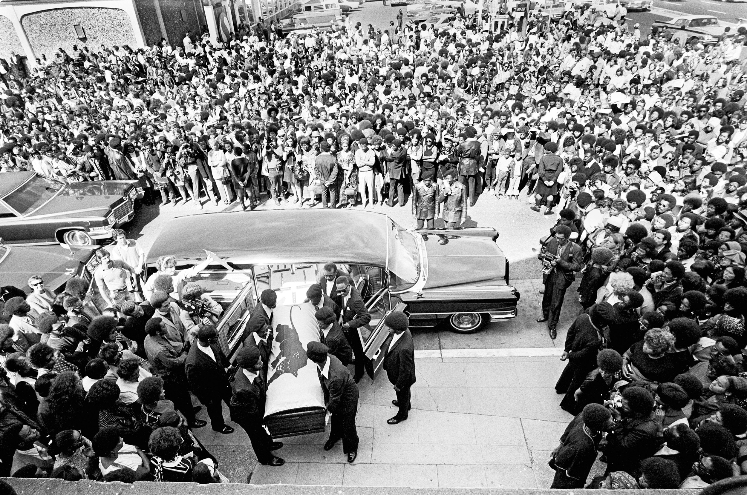 George Jackson's coffin carried into St. Augustine's Episcopal Church, Oakland, August 28, 1971