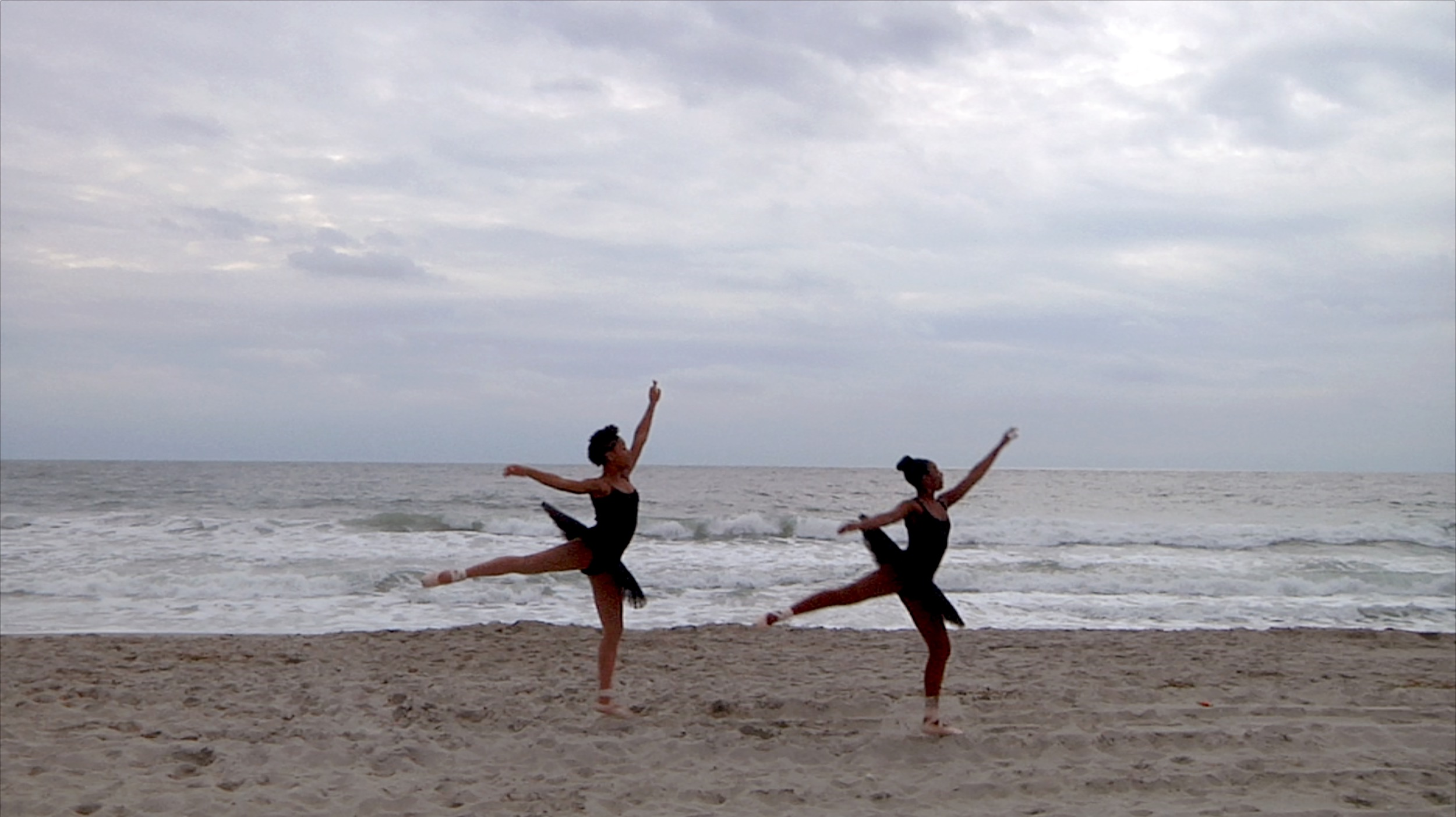 Raven Joseph and Tatianna Burchette, high school students in the Rockaways, dance on the beach hit by Hurricane Sandy 1000 days after the storm.