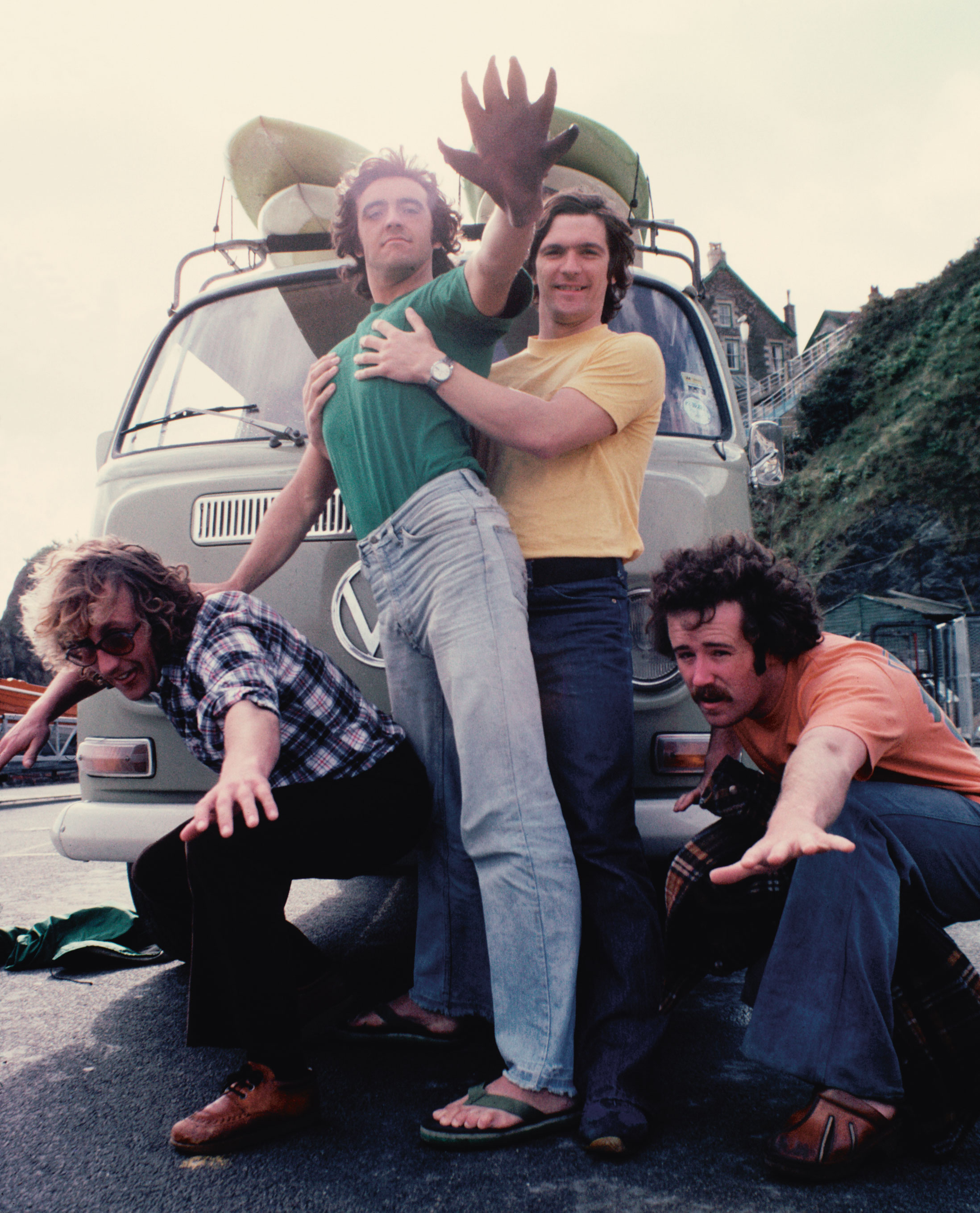 "Left to right: Frank Paul, Kevin Rankin, Sandy Lamont and Pat Kieran. ""'Deef Hon' was a rubber glove who lived in the van. Whoever drove the van had to wear him and give hand signals instead of indicating! Deef Hon [Deaf Hand] was so named because he had no ears!"" – Kevin Rankin. Photo by Andy Bennetts"
