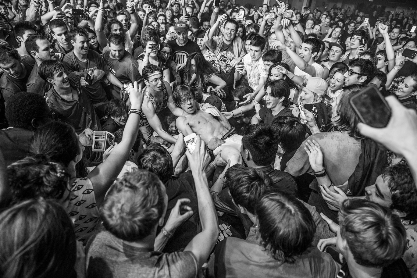 Matt Shultz of Cage the Elephant amid a crowd at New York's Terminal 5.