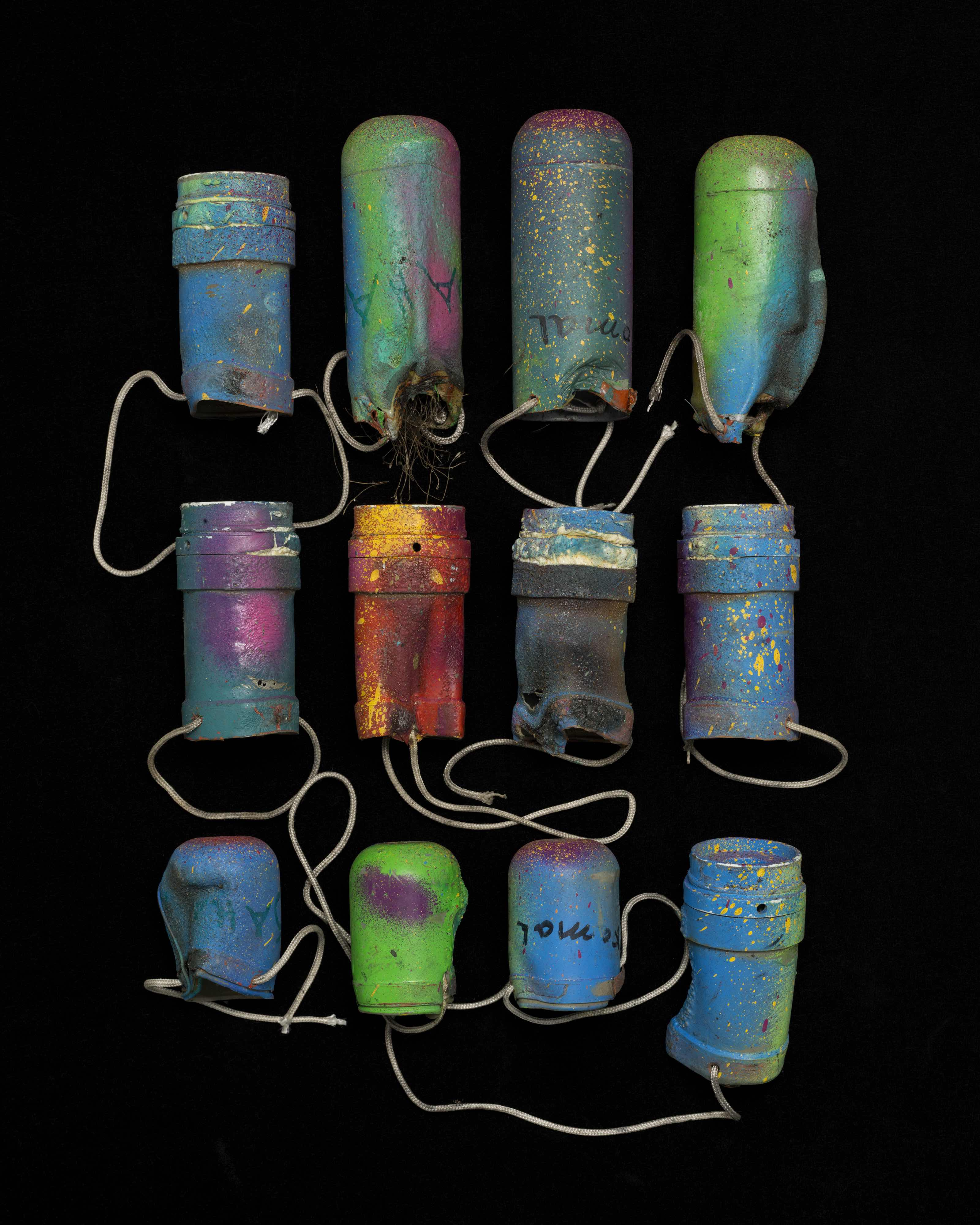 Decorated tear gas canisters Collected 28 October 2016 © Gideon Mendel