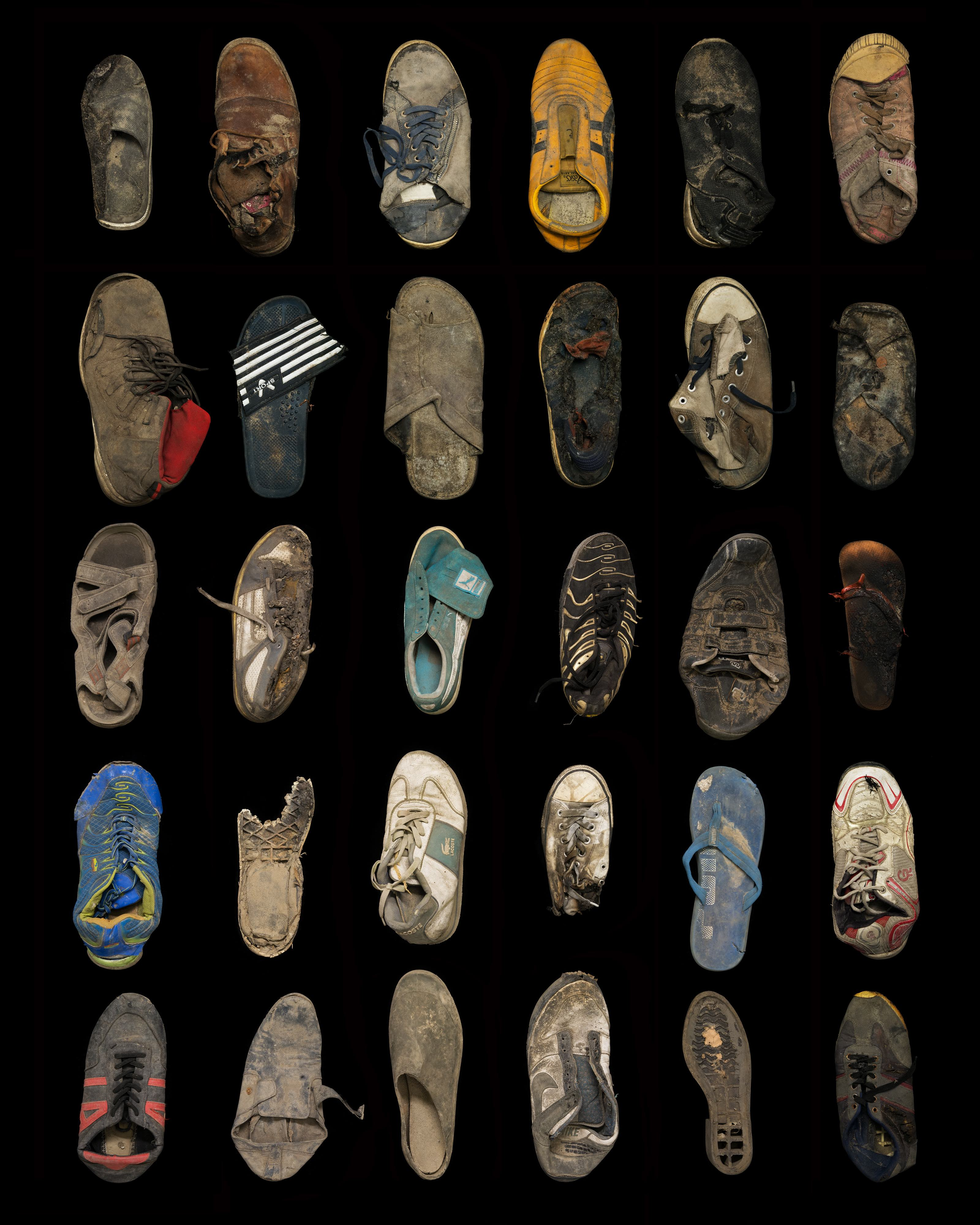 Thirty shoes, trainers and sandals Collected 21 May, 15 September, 27 October and 28 October 2016 © Gideon Mendel