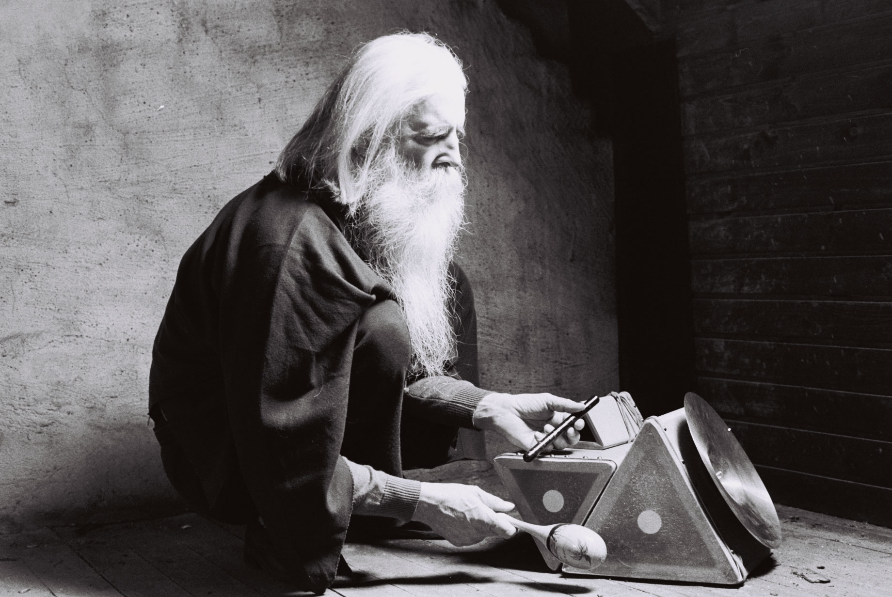 Moondog in Germany, circa 1980. Photo by Stefan Lakatos, courtesy Hark Pictures.