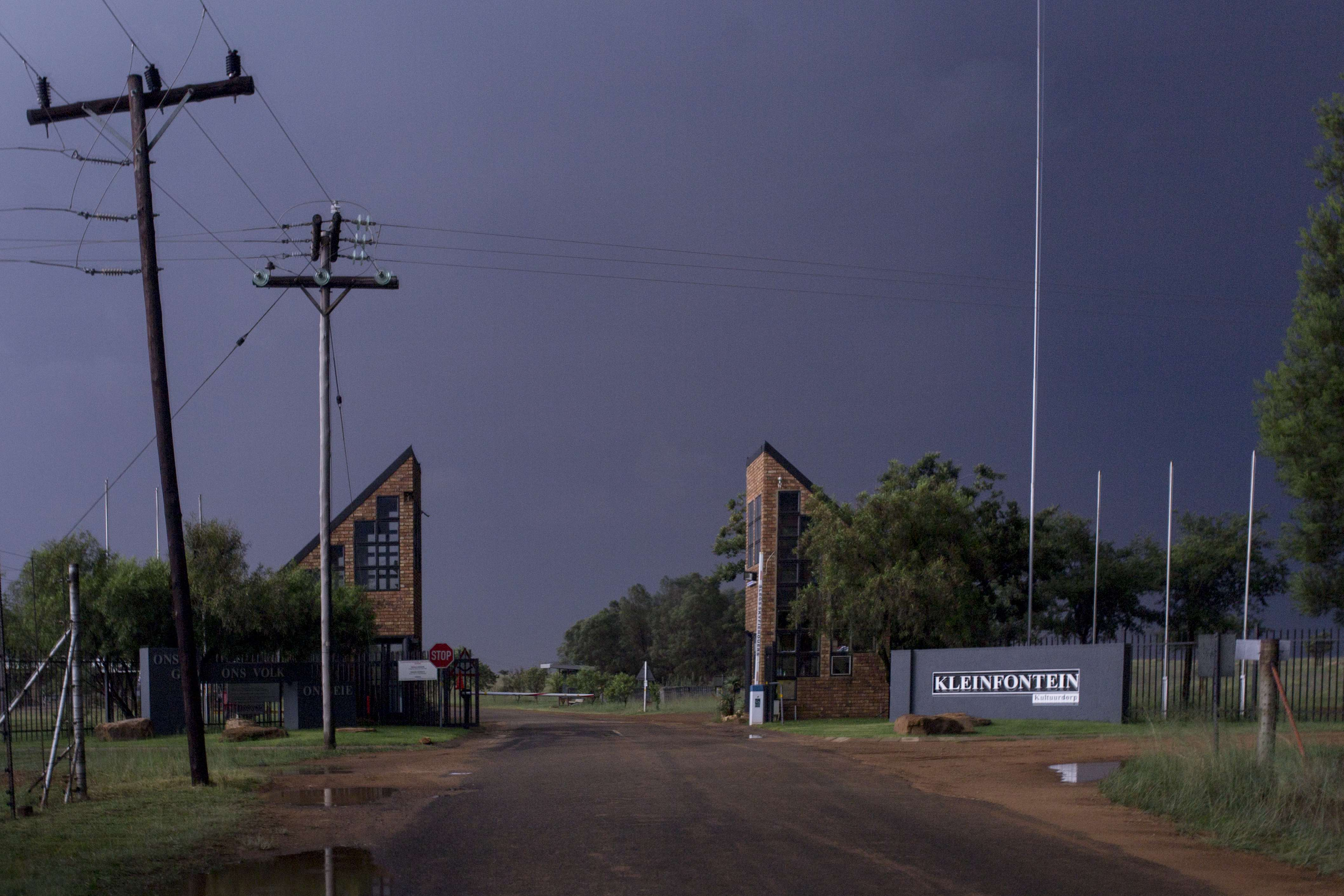 The Main Gate of Kleinfontein at nightime.