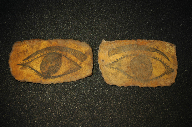 A pair of tattooed eyes. Preserved human skin (Science Museum Object) Photograph Gemma Angel, courtesy of the Science Museum, London