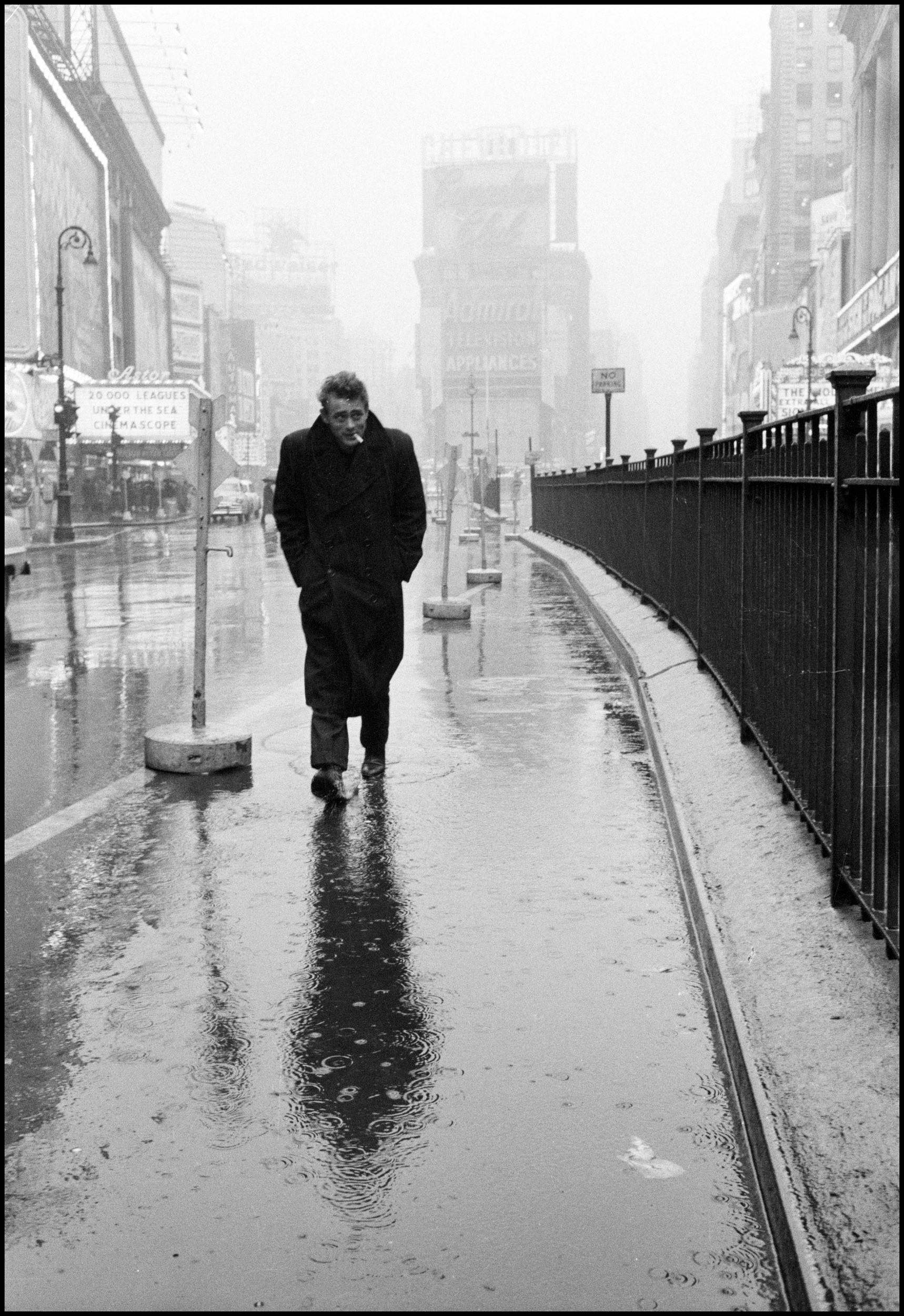 USA. New York City. 1955. James Dean haunted Times Square. Photo by Dennis Stock.