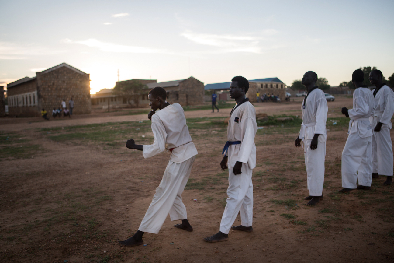 The Bolok Taekwondo Club train on a field in a suburb of Juba – one of the city's few public recreational spaces.