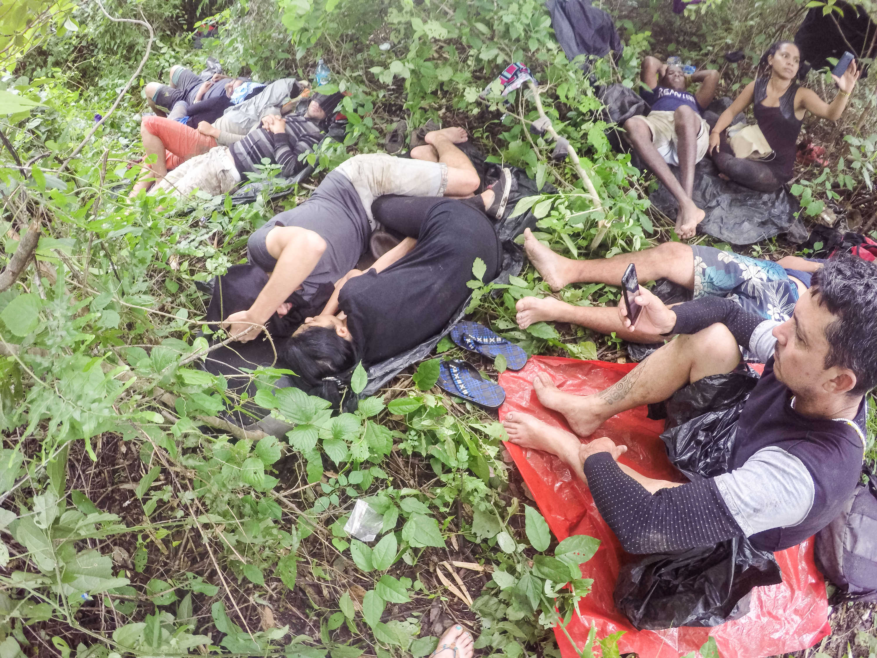 June 24, 2016 - Migrants spend most of their time in the Nicaraguan forest waiting for the signal to move on. Their coyotes put a hold on their journey because the Nicaraguan military has reinforced patrols on migrants.