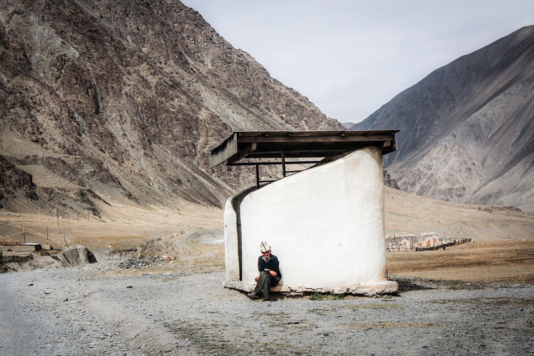 Bus stop, Sary Tash Kyrgyz-Tajik border.