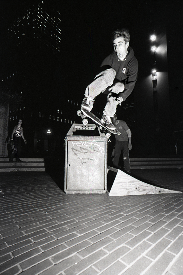 Greg Carroll at San Francisco's Embarcadero – ground zero for street skating – circa 1987. Photo by Gus Duarte.